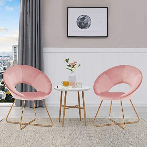 Modern Set of 2 Accent Velvet Chairs,Single Sofa Comfy Upholstered Arm Chair Dining Living Room Furniture Salmon Pink