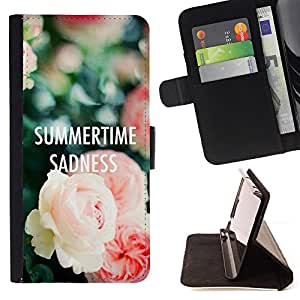 - summertime text sadness roses deep - - Prima caja de la PU billetera de cuero con ranuras para tarjetas, efectivo desmontable correa para l Funny HouseFOR HTC One M7