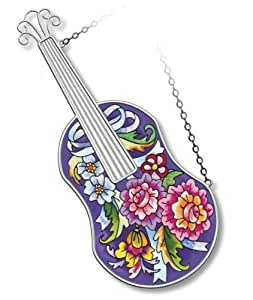 Amia Folk Violin Suncatcher Hand-painted Glass, 11-1/4-inch Long