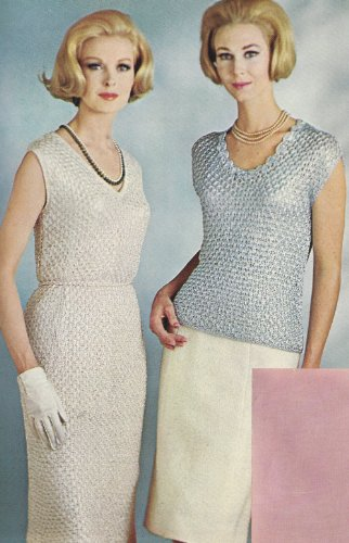 Vintage Knitting PATTERN to make - Ribbon Dress & Shell Top Blouse Cap Sleeve V. NOT a finished item. This is a pattern and/or instructions to make the item only.
