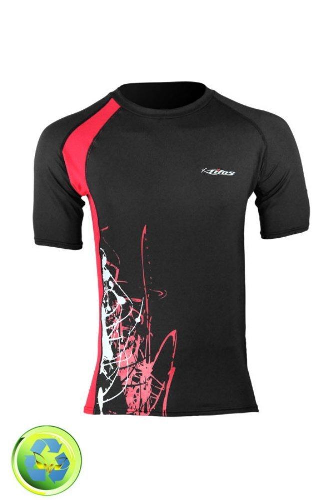 New Tilos Men's 6oz Anti-UV Short Sleeve Rash Guard - Black/Red (Size 2X-Large)