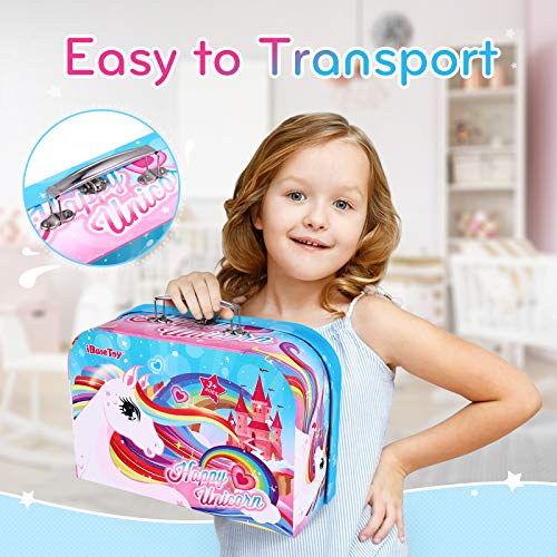 iBaseToy Kids Tea Set – Unicorn Castle Pretend Play Tea Party Set Toys with Carrying Case for Toddlers Boys Girls…