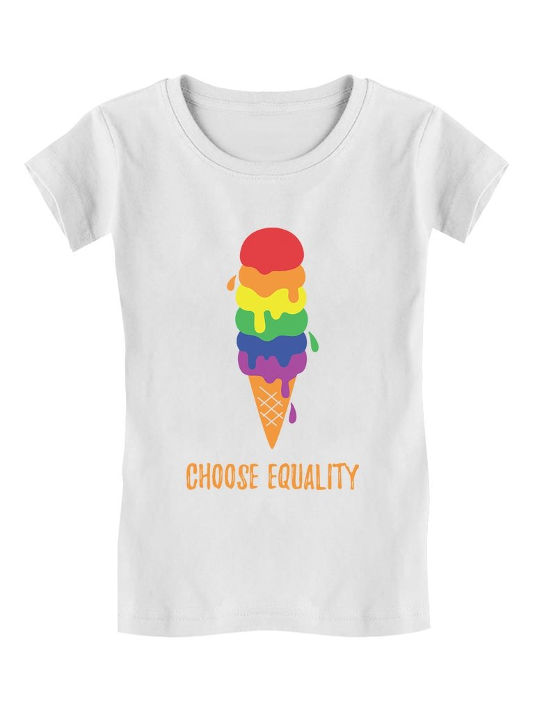 Equality Rainbow Ice Cream Pride Flag Toddler/Kids Girls' Fitted T-Shirt 4T White