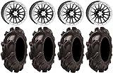 Bundle - 9 Items: ITP SD Dual Beadlock 14'' Wheels 32'' Mammoth Mayhem Tires [4x137 Bolt Pattern 12mmx1.25 Lug Kit]