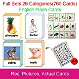 Richardy 26 Categories 760 PCS Kids Montessori English Learing Flash Cards Pocket Card Baby Toys for Children Pre-Kindergarten Education