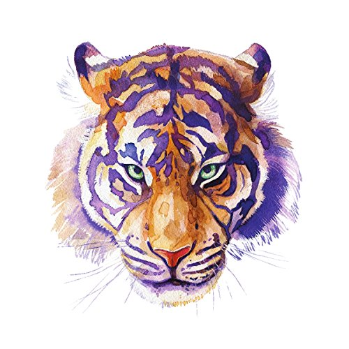 Tiger Home Wall Shelf Decor Animal Decorations Watercolor Square Sign - 9x9, Metal by iCandy Products Inc