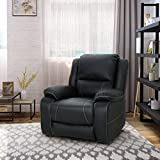 Teresa Classic Tufted Leather Swivel Recliner, Black