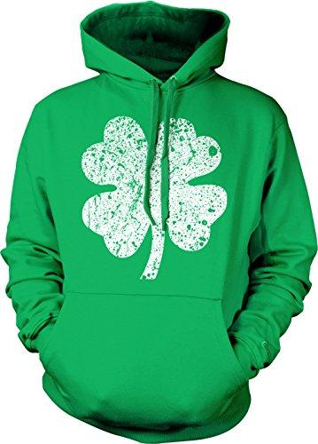 ite Four Leaf Clover Adult Hoodie Sweatshirt (Kelly, XX-Large) (Clover Hoodie)