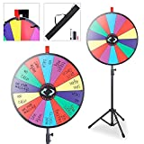 "Koval Inc Tripod Adjustable Stand with Spinning Prize Wheel 24"" 14 Slots with Color Dry Erase Carnival Games Trade Show Fortune Spin Game Office Party"