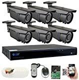 Cheap GW Security 8-Channel 2.5K HD (5MP) Complete Security System with (6) x True HD 5MP 1920P Outdoor/Indoor 2.8-12mm Varifocal Zoom Bullet Security Cameras and 2TB HDD, QR Code Scan Free Remote View