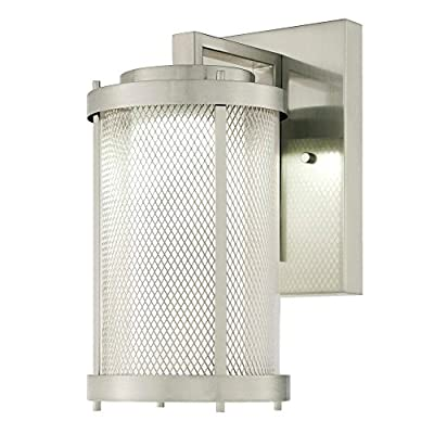 Westinghouse 6318300 Skyview One-Light LED Outdoor Wall Fixture with Mesh, Clear and Frosted Glass, Brushed Nickel