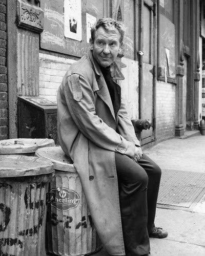 Burgess Meredith in Naked City sitting on garbage cans Hold For Gloria Christmas 1962 16x20 Poster