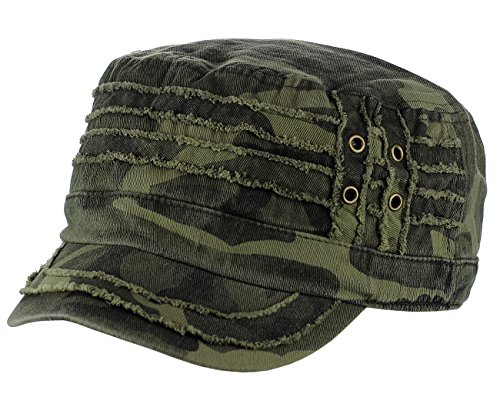 Cotton Military Camo Cap Style - David & Young 100% Cotton Light Summer Cool Military Cadet Castro Distress Hat Cap, Camo