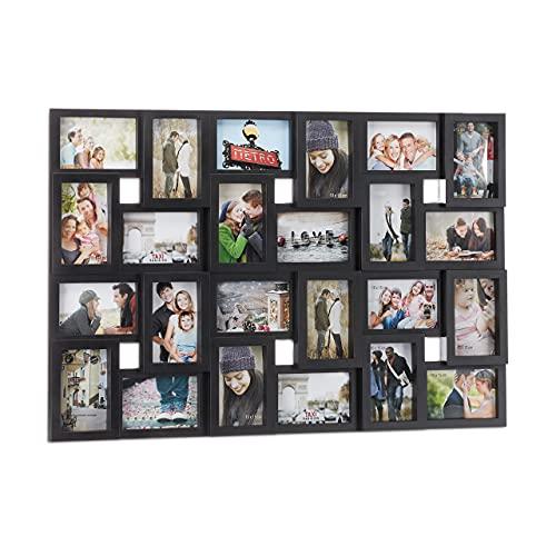 Relaxdays Cornice portafoto per 24 Foto da 10 x 15, da Appendere, in Plastica, HxLxP: 57 x 86 x 3 cm, Nera