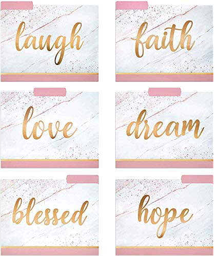 Decorative File Folders – 12 Fancy File Folders with Inspirational Words Emboss in Rose Gold Foil – Colored File Folders…