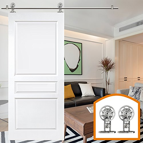 ZEKOO 15 FT Sliding Barn Door Hardware Stainless Steel Spoke Track Kit Includes Rail Rail Support Roller Door Stop End Cap Floor Guide