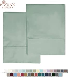 Pizuna 400 Thread Count Cotton Standard Pillowcases Sage 100% Long Staple Cotton Smooth Sateen Pillowcase with Stylish 4 inch Hem, Set of 2 Pillow Covers (Sea Foam Standard 100% Cotton Pillow Cases)