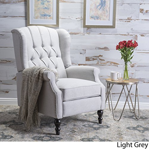 GDF Studio Elizabeth Tufted Fabric Recliner, Vintage Reclining Reading Armchair, Light Grey