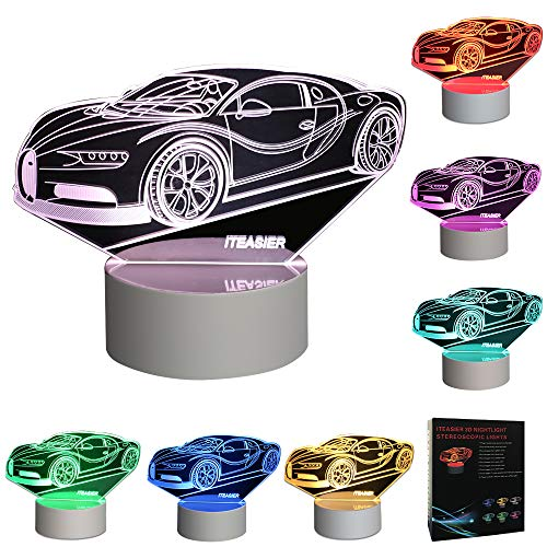 E-vendor LED Night Light, 3D Visual Desk Lamps with 7 Color Changing Lights Touch Button, Car Shape Best Gift for Kids (White)