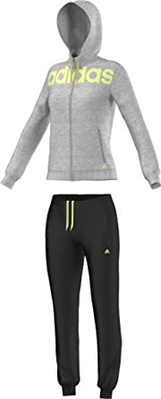 adidas ESS Linear COTT - Chándal para Mujer, Color Gris/Amarillo ...
