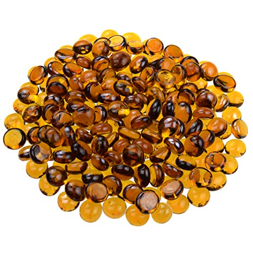 (KINGOU Flat Glass Gems/Beads/Stones for Vase Filler, Table Scatter, Games - 1 Lbs (12-14mm, Approx. 1/2