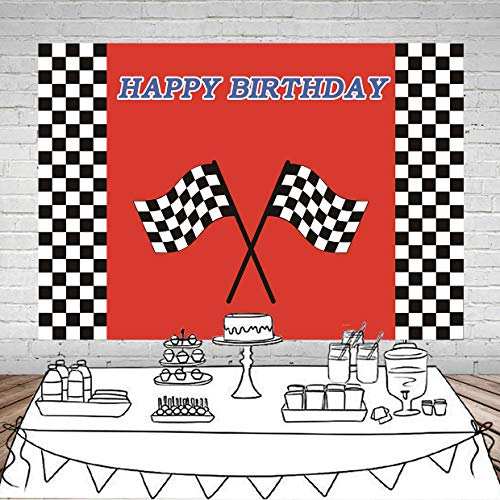 (Botong 7x5ft Car Racing Flag Birthday Themed Backdrop Racing Flag Black White Grid Red Photo Backgrounds Happy Birthday Party Photo Booth Props Banner)