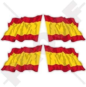 """España Español saludando Civil Ensign Bandera Espana 2""""(50mm) bumper-helmet de vinilo pegatinas, calcomanías x4"""