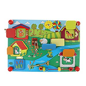 MagiDeal Locks and Wooden Latches to Explore Mysterious Board Game Educational Puzzle Child Montessori Toy - Style 2, as described