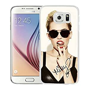 Fashionable Custom Designed Hard Shell Case For Samsung Galaxy S6 With miley cyrus White Phone Case