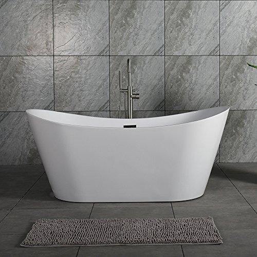 Review WOODBRIDGE B-0010 67 Acrylic Freestanding Bathtub Tub with Brushed Nickel Overflow & Drain, ...