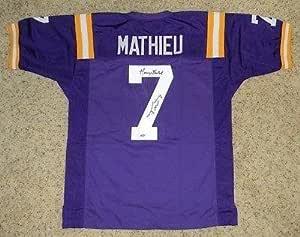 Signed Tyrann Mathieu Jersey - Lsu Tigers #7 Purple W Honey Badger ...
