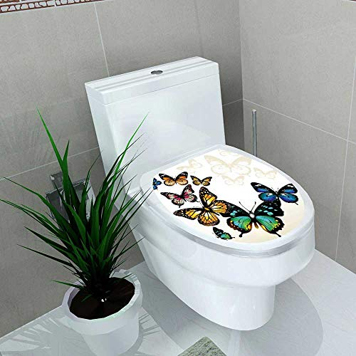 Auraise-home Toilet Seat Wall Stickers Paper Beach Pool Ombre ButterflyColorful Monarch Butterflies Shades and Shadows Ombre Blue Pink Green Decals DIY Decoration W14 x -
