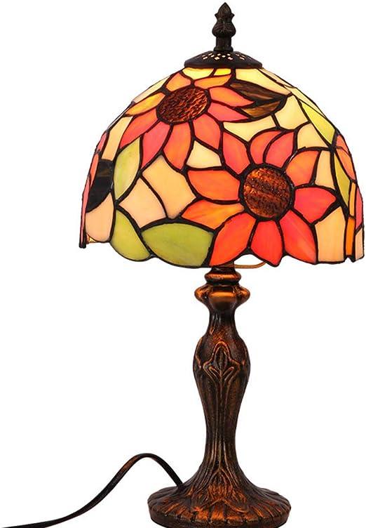8 Pulgadas Tiffany Style Lámpara de Mesa Girasol Vitral Lámpara de ...