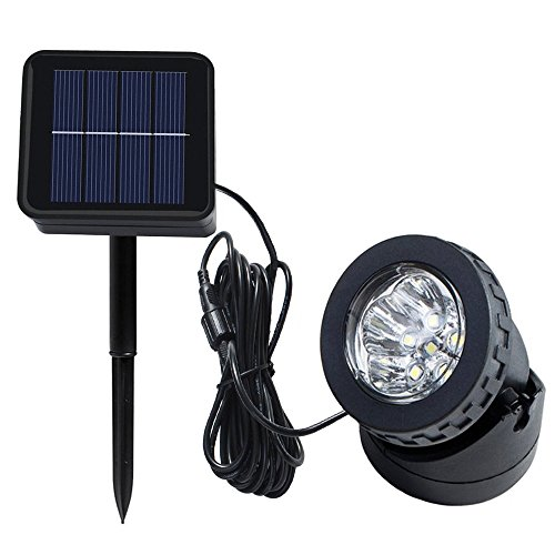 Spotlight Landscape Submersible Lighting (Heansun Solar LED Landscape Spotlight, Pond Light Underwater Light Auto On/Off for Outdoor Garden Courtyard Lawn Fish Tank Pool Landscape Lighting, Adjustable Lighting Angle)