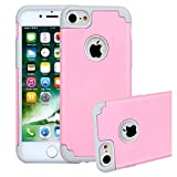 iPhone 6/6s Case, iBarbe 2 in 1 Hybrid Heavy Duty Soft Rubber PC Shockproof Protective cover Case with Dual Layer Scratch Resistant Bumper for Apple iPhone 6 6s (4.7 inch) phone-Pink