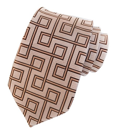 Elfeves Men's Brown Italy Handmade Unique Design Jacquard Woven Silk Tie Necktie