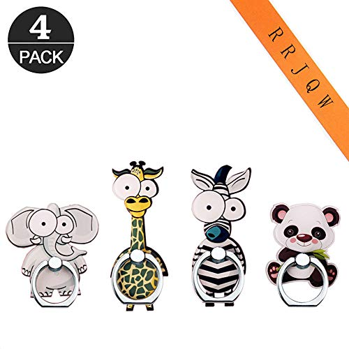 RRJQW Phone Ring Holder Stand,Animals Phone Ring Stand Holder 360 Rotation Finger Ring Grip Stand for Cellphones,Smartphones and Tablets (Zebra,Giraffe,Elephant,Panda)