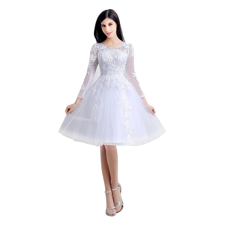 Engerla Women's Long Sleeves Lace Applique Empire Line Knee Length A-line Wedding Dress