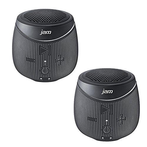 Jam Double Down Rugged Splash-Proof Bluetooth Speaker Stereo Pair of 2 Speakers in Black