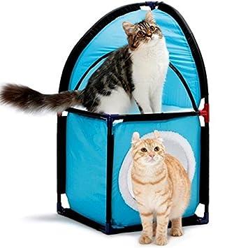 Damastoreitalia Caseta nicchia Casa Casa Gato Cuna Cama Juegos Gatos Angular Kitty Corner Acolchada 2 Pisos: Amazon.es: Productos para mascotas