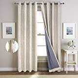 NordECO 100% Blackout Curtains Thermal Insulated Grommet Top Window Treatment Set with Silver