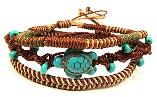 Exotic & Trendy Jewelry, Books and More Turtle Hemp Bracelet-Black Bracelet with Turtle in Turquoise Color-Hawaiian Sea Turtle Bracelet-Hemp Bracelet