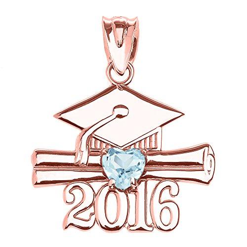 10K Or rose Cœur Pierre porte-bonheur Mars Classe de 2016Graduation Pendentif