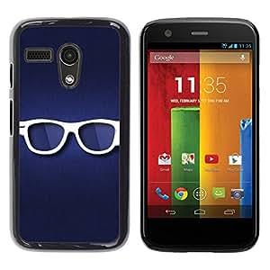 PC/Aluminum Funda Carcasa protectora para Motorola Moto G 1 1ST Gen I X1032 Glasses Hipster Eye White Blue Symbol / JUSTGO PHONE PROTECTOR