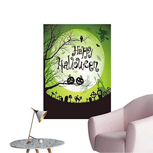 Wall Decorative Halloween with Black Silhouettes on Moon Background Check Pictures Wall Art Painting,32