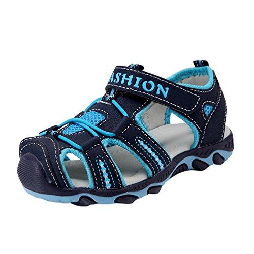 YiLianDa Kinder Sandalen Sommer Rutschfeste Schuhe Outdoorsandalen Geschlossene Dunkel Blau