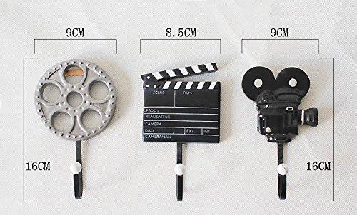 bolsas etc. para ropa de resina 3 unidades para el hogar Conjunto de percheros de pared con dise/ños de cine de RZdeal