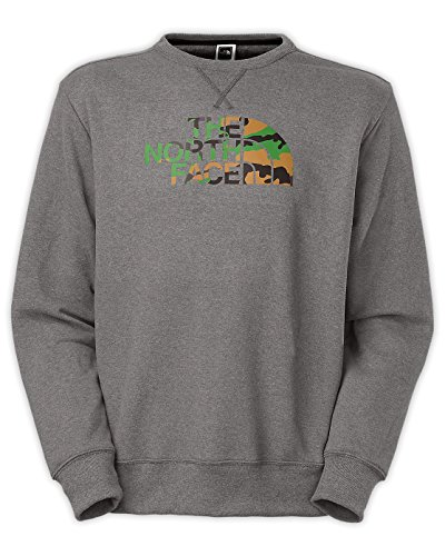 - The North Face Men's Half Dome Fleece Crew Neck Tee Charcoal Grey Heather / Green Camo Medium