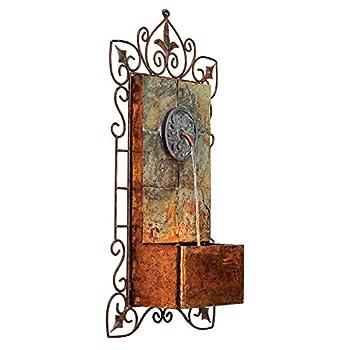 """Ibizi Faux Slate & Iron Medallion 33""""H Wall LED Fountain"""