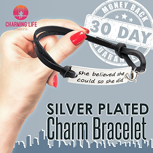 """She Believed She Could So She Did"" Inspirational Leather Bracelet"